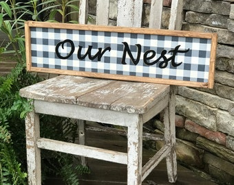 Our nest buffalo plaid framed wood sign | farmhouse wall decor | southern sign decor