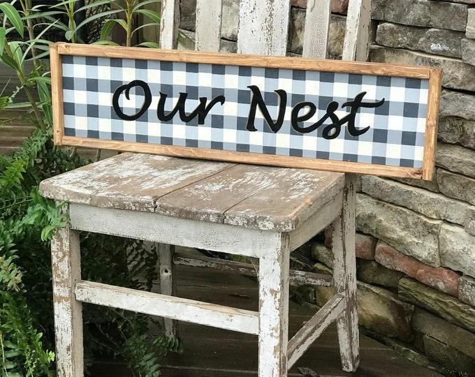 Our Nest buffalo plaid framed wood sign | farmhouse wall decor | southern style decor