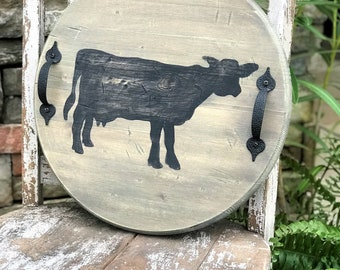 Round wooden serving tray with black cow silhouette, farmhouse decor, rustic decor