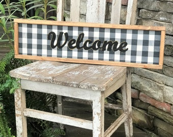 Wood buffalo plaid Welcome sign | framed wood farmhouse sign