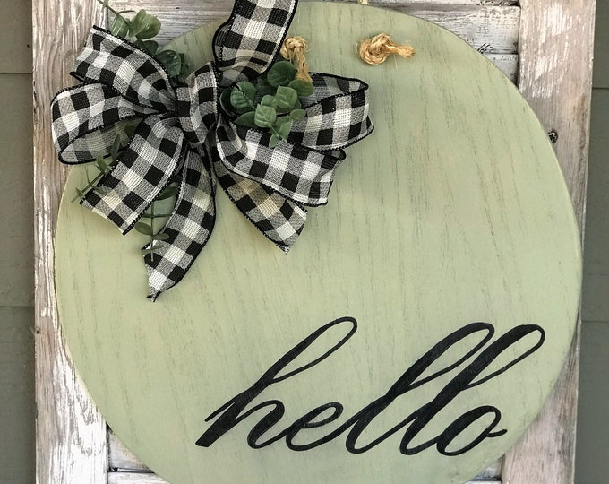 Hello, round wood door hanger with bow | round wall decor | southern style decor