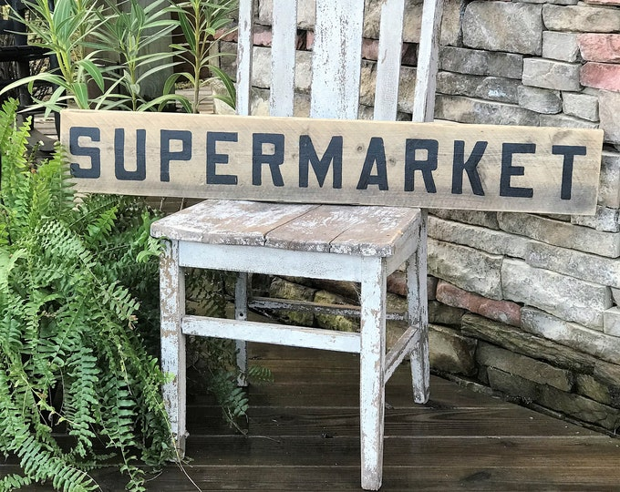 Supermarket barn wood sign | farmhouse sign | vintage style sign | rustic home decor