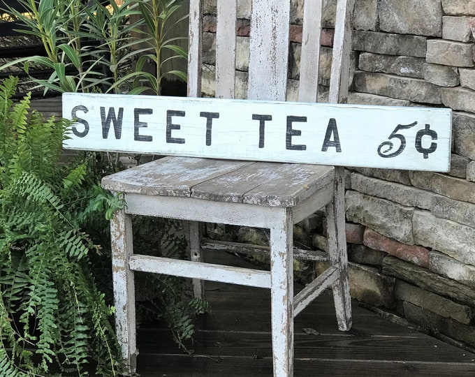 Sweet tea wooden farmhouse sign |  vintage southern style decor