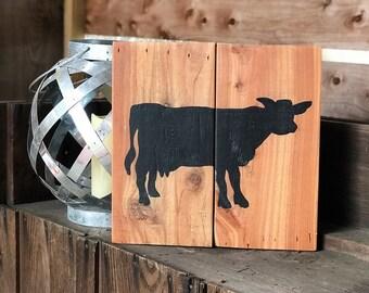 Rustic cow kitchen sign | rustic farmhouse cow decor