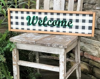 Welcome buffalo plaid framed wood sign |  plaid farmhouse style sign
