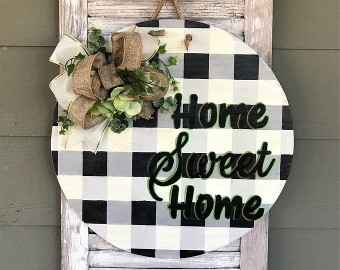 Home sweet home buffalo plaid round wooden door hanger | round wall decor | southern style porch decor