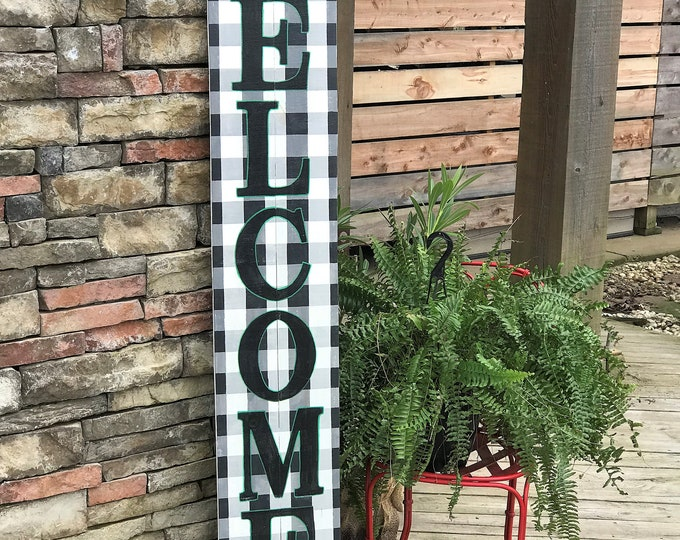 Tall WELCOME sign, buffalo plaid, porch welcome sign, wood porch sign