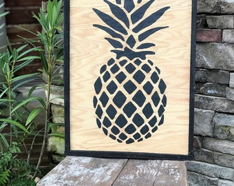Pineapple framed wood sign, southern style decor, gallery wall sign