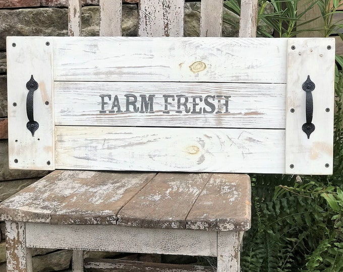 Wooden serving tray, farm fresh serving tray, farmhouse decor