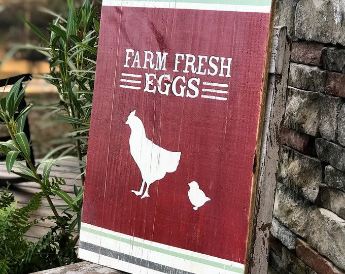 Farm fresh eggs hand painted barn wood sign, chicken sign, farmhouse sign
