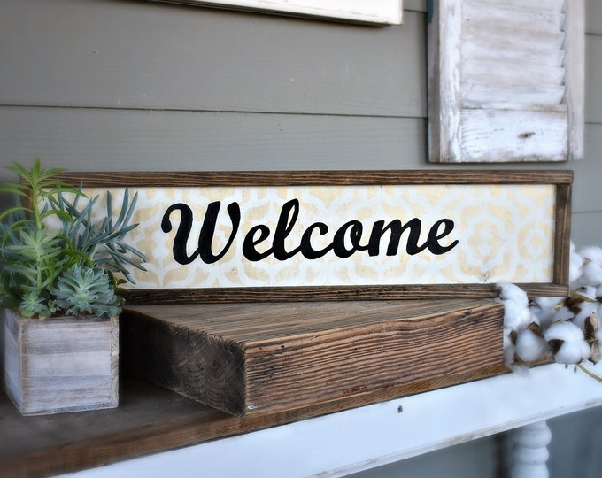 Framed wooden Welcome sign, farmhouse style wood sign, modern farmhouse