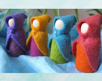 Set of Four Small Summer Fairy Gnome Waldorf Inspired Wool Cloak