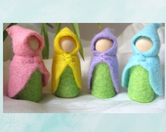 Set of Four Small Spring Flower Fairy Gnome Waldorf Inspired Wool Cloak
