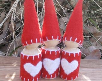 Valentine Heart Waldorf Wool Peg Doll