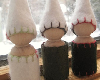 Set of 3 READY TO SHIP Winter Gnomes Blue White Waldorf Peg Dolls Pretend Play