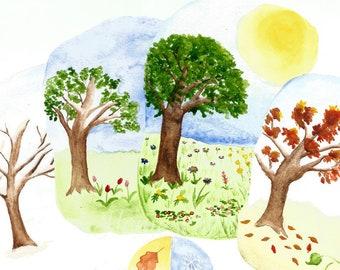 PDF Nature Table Calendar Cards Printable Four Seasons Seasonal Steiner Waldorf-Inspired Watercolor
