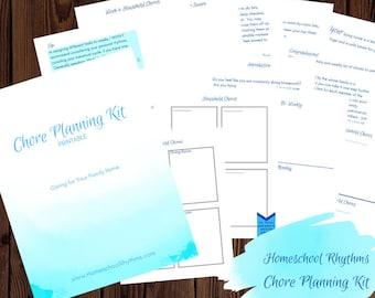 Chore Planning Workbook Household Management Workbook Printable Guide Chart