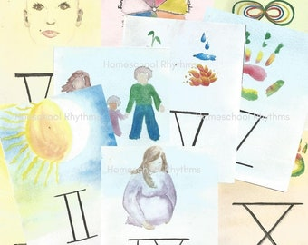 Printable Roman Numeral Cards Waldorf-Inspired Watercolor