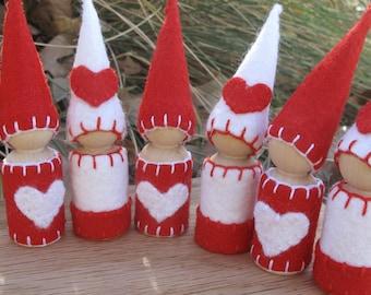 Valentine Heart Waldorf Gnomes Wool Peg Dolls--Multiples