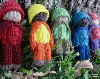 Set of Five Hand Knit Pocket Doll Rainbow Wool Waldorf