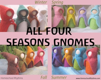 Set of 16 Small Fairy Gnome Waldorf Inspired Wool Cloak--Winter Spring Summer Fall--Seasonal Nature Table