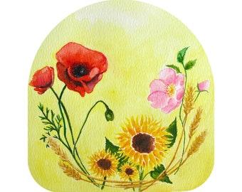PDF Summer Nature Table Calendar Printable Harvest Lughnasadh Lammas Seasonal Steiner Waldorf-Inspired Watercolor Flowers Poppy Wild Rose