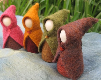 Set of Four Small Autumn Fairy Gnome Waldorf Inspired Wool Cloak
