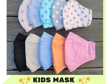 MULTI PACK l Kids face mask, Nose Wire, Adjustable straps, Filter Pocket, Children's Face covering, Over Nose Comfort fit
