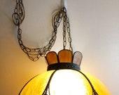 Vintage Victorian Style Caramel Slag Glass Hanging chain large bulb swag tulip leaf petal glass mid century Lamp