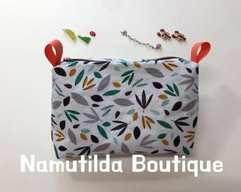 Modern Leaf Nature Pattern Zip Pouch Bag, Zipper Pouch Travel Case, Cosmetic Makeup Bag, Pencil Case, Essential Bag