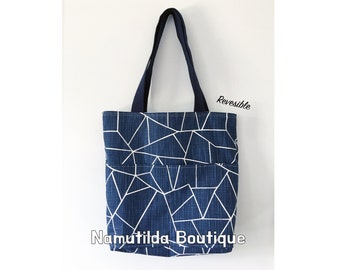 Blue Triangle Shopping Bag, Tote Bag, Reversible Bag, Teachers Bag, Eco, Designer Bag, Diapers Bag, Canvas Bag,Shoulder Bag, Large Bag, easy
