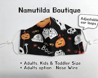 Halloween Kids Mask, Pumpkin Boo  Mask, School Mask, Free Filter Mask, Adjustable Ear Loops Mask, Washable, Handmade Mask with Filter Pocket