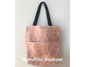 Pink Triangle Shopping Bag, Tote Bag, Pink Bag, Design Bag, Diapers Bag, Canvas Bag, Shoulder Bag, Large Bag, Cotton Bag, Work Bag, Handbag
