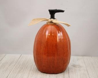 Handmade Pottery Pumpkin Pump Dispenser