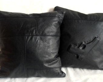 2 leather cushion covers black with pistol print from leather jacket Crime pillow