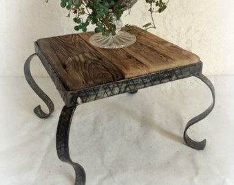 Flower Stool Flower Column Side Table Sweat Driftwood Upcycling