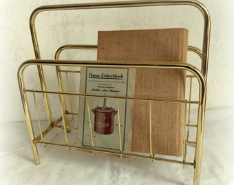 Great old newspaper rack gold/mesing mid century