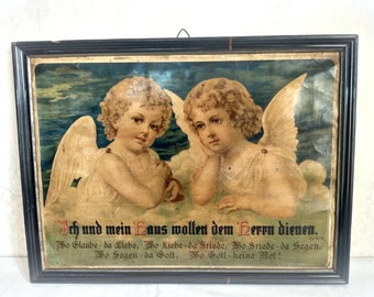 Antique large angel picture with saying nostalgia