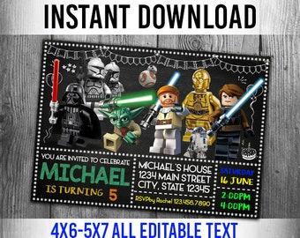 Star Wars Invitation Birthday Party Personalized Invite Editable Invitations