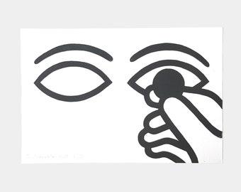 "Linocut 30 x 20 cm limited edition ""Keep an eye"""