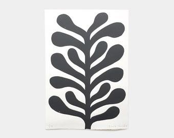 "Linogravure 21 x 30 cm limited edition ""Black Plant"""