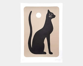"""Lithography 37 x 50 cm limited edition """"Black Cat"""""""