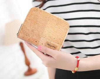 Veggees® Mini Naturell - vegane kleine Kork Geldbörse Portemonnaie für Damen mit RFID Schutz