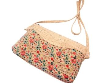 Vegane Umhängetasche aus Kork mit Blumenmuster - Korktasche umweltfreundliche - nachhaltige Tasche