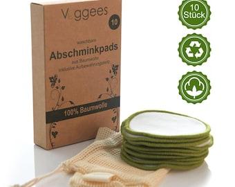 ZERO WASTE Abschminkpads waschbar, wiederverwendbar aus 100% Baumwolle inkl. Wäschenetz