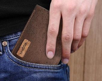 Vegane Kork Geldbörse Portemonnaie Herren RFID Brieftasche Braun