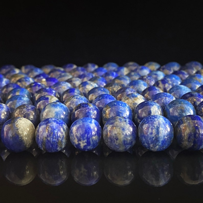 Grade Natural Color Smooth Round Lapis Lazuli Beads High-Quality AA