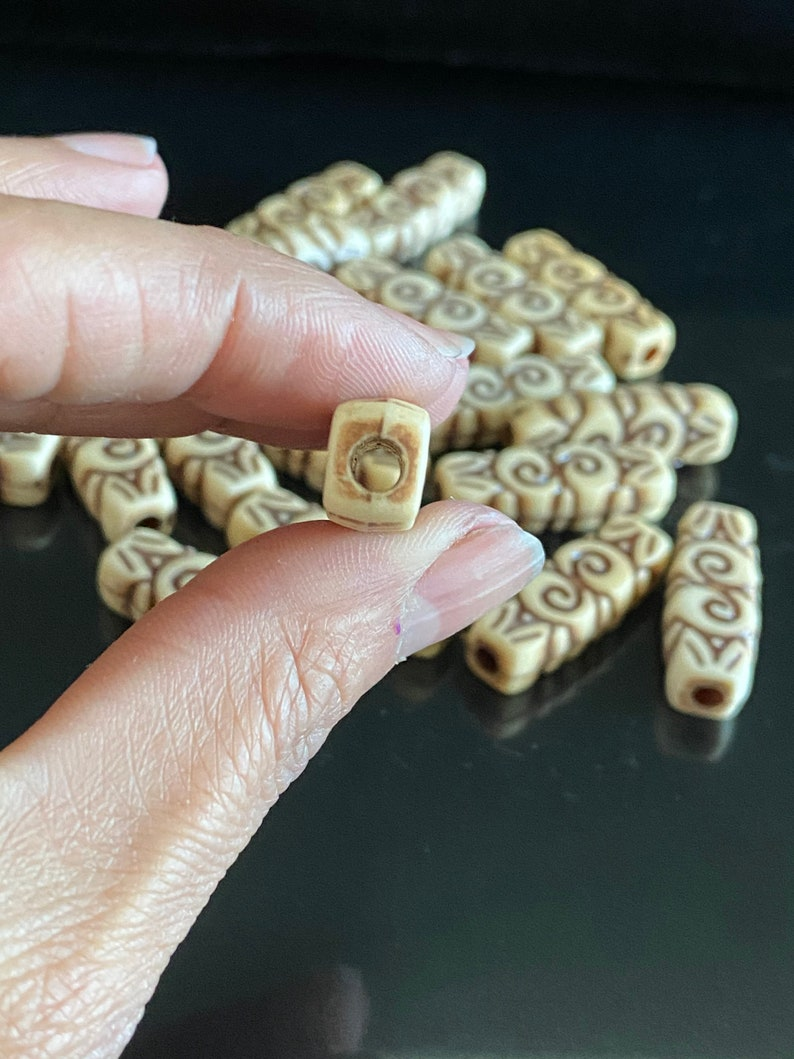 Carved Etched Acrylic Beads