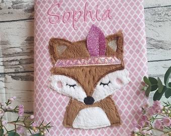 Photo album, fabric insert album, with name, boho fox head