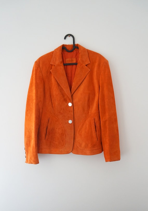 Betty Barclay leather, jacket orange, Betty Barcla